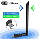 WiFi USB Adaptador, Antena WiFi USB Inalámbrico Dual Band 2.4G / 5.8G 802.11 AC WiFi Dongle con Antena de 5dBi Receptor Soporte Windows 10/8/8.1/7/Vista/XP/2000,Mac OS 10.4-10.12 (Tipo 1)