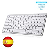 Teclado Bluetooth Español, SENGBIRCH Light Teclado Inalámbrico Portátil para iPhone de iOS, iPad, Samsung, Huawei, Android, Windows y Cualquier Dispositivo con Bluetooth, Teclado Bluetooth (Blanco)