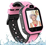 PTHTECHUS 4G GPS Niños Smartwatch Phone, niños y niña Teléfono Reloj Inteligente con SOS 2 vías Chat de Voz y Video Alarma Podómetro WiFi Cámara Inteligente Watch (Rosa)