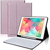 DINGRICH Teclado con Funda para iPad 9.7 2018 Español Ñ Teclado Bluetooth Inalámbrico Desmontable con Portalápiz para iPad Air 2/iPad Air/iPad 2018 6th Gen/iPad 5 2017/iPad Pro 9.7 Smart Case Oro Rosa