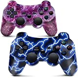 Mando PS3 Inalámbrico Gamepad Bluetooth PS3 Controller Joystick con Doble Vibración SIX-AXIS para PlayStation 3 / PC (Galaxy & Azul)