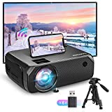 Bomaker Proyector WiFi, Proyectores Soporte Full HD 1080P 6000 LM Portátil, Nativa 720P Video Proyector Inalámbrico Mini Cine en Casa, Zoom X/Y, 300'/HDMI/iPhone/Android/TV Stick/PS4/Laptop, GC355